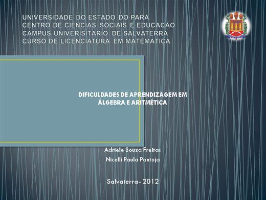 Curso Online de DIFICULDADES DE APRENDIZAGEM EM ÁLGEBRA E ARITMÉTICA
