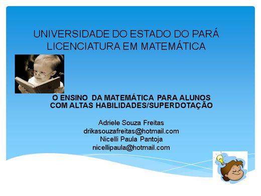 Curso Online de O ENSINO DA MATEMÁTICA PARA ALUNOS COM ALTAS HABILIDADES/SUPERDOTAÇÃO