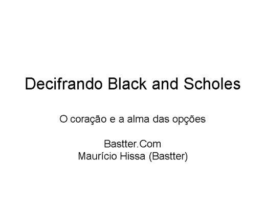 Curso Online de Decifrando Black and Scholes
