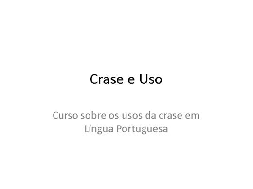 Curso Online de Uso da Crase