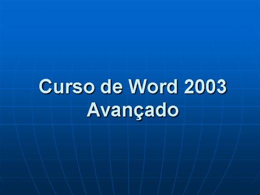 Curso Online de Word 2003 Avançado
