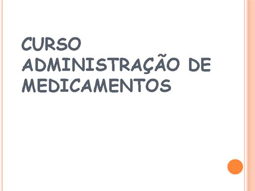 Curso Online de Administracao de Medicamentos