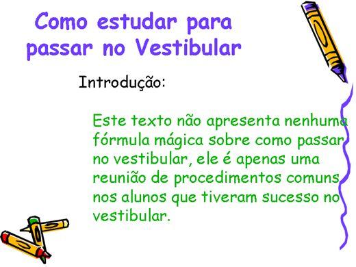 Curso Online de Como Estudar para Passar no Vestibular