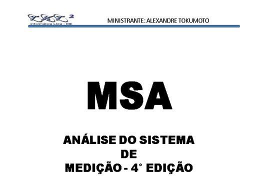 Curso Online de MSA  ANÁLISE DO SISTEMA  DE  MEDIÇÃO - 4° EDIÇÃO