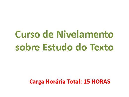 Curso Online de Nivelamento sobre Estudo do Texto