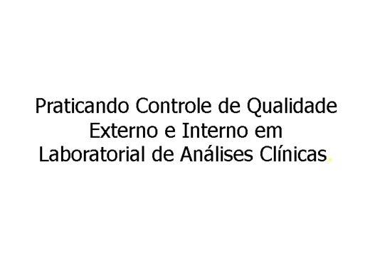 Curso Online de Controle de Qualidade Laboratorial