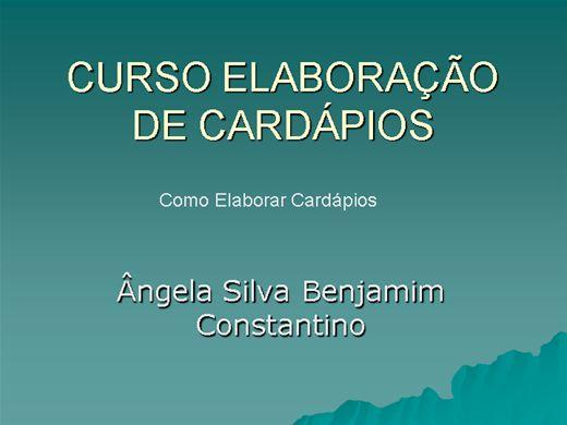 Curso Online de CURSO ELABORAÇÃO DE CARDÁPIOS