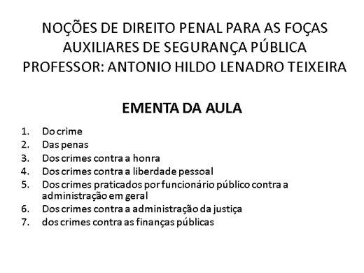 Curso Online de Noções de Direito Penal