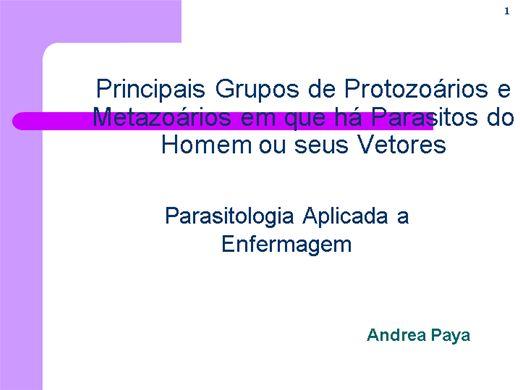 Curso Online de Parasitologia aplicada a saúde