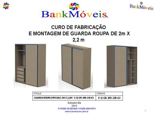 Curso Online de CURSO DE FABRICAÇÃO -E-Q-GR-200-220-63 GUARDA ROUPA 2M X 2,2M