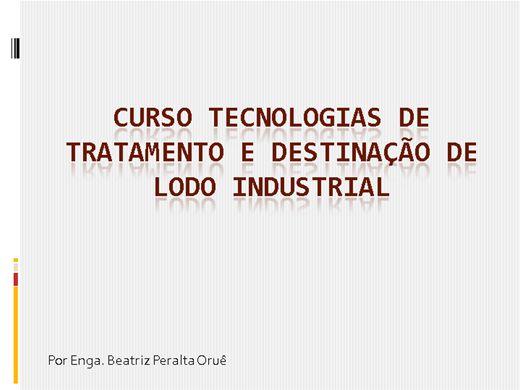Curso Online de Tecnologias de Tratamento e Disposição de Lodo Industrial