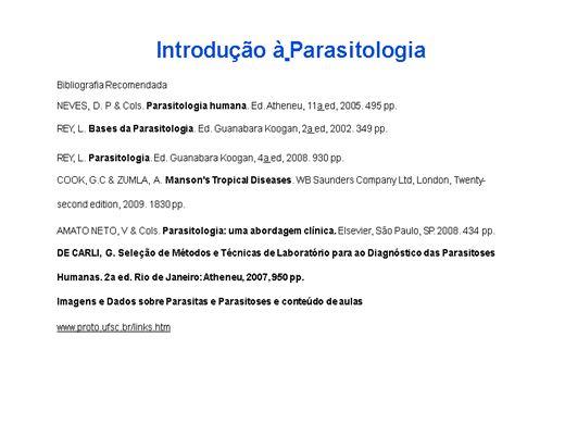 Curso Online de Introdução à Parasitologia