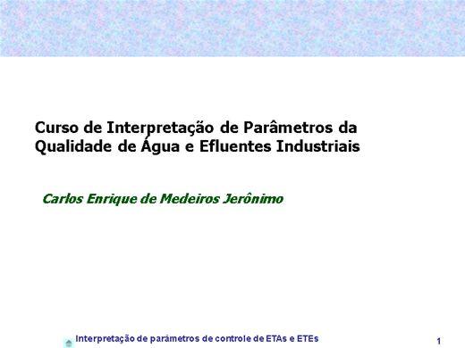 Curso Online de Interpretaçao de parametros de aguas e efluentes