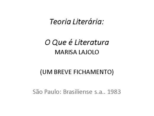 Curso Online de Teoria Literária: Lajolo