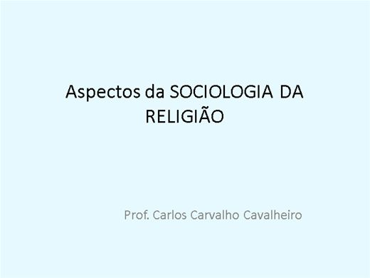 Curso Online de Aspectos da Sociologia da Religião