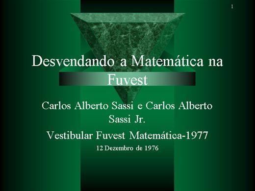 Curso Online de Desvendando a Matemática na Fuvest - Vestibular 1977