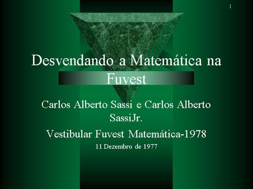 Curso Online de Desvendando a Matemática na Fuvest - Vestibular 1978