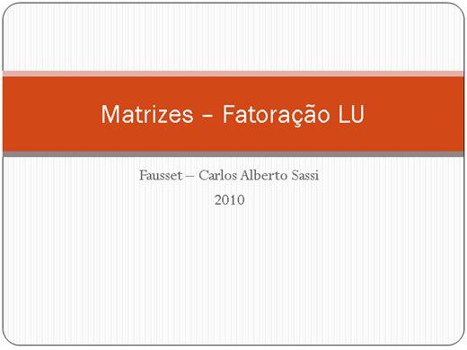 Curso Online de Matrizes - Fatoração LU