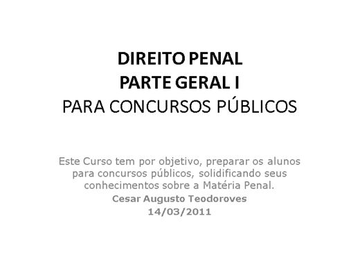 Curso Online de Direito Penal - Parte Geral I