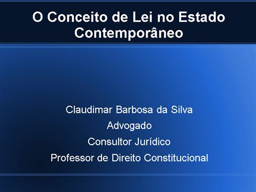 Curso Online de O Conceito de Lei no Estado Contemporâneo