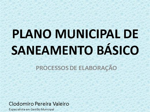 Curso Online de PLANO MUNICIPAL DE SANEAMENTO BÁSICO
