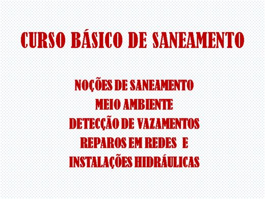 Curso Online de CURSO BÁSICO DE SANEAMENTO