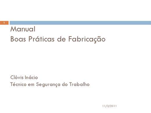 Curso Online de APPCC e MANUAL DE BOAS PRÁTICAS DE FABRICAÇÃO