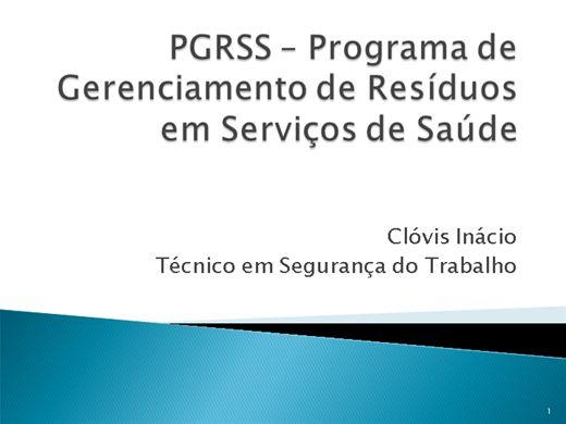 Curso Online de NOÇÕES BÁSICAS DE PGRSS - PROGRAMA DE GERENCIAMENTO DE RESÍDUOS EM SERVIÇOS DE SAÚDE