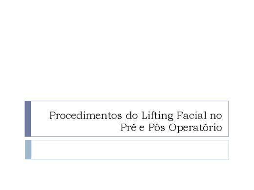 Curso Online de  Lifting Facial no Pré e Pós Operatório
