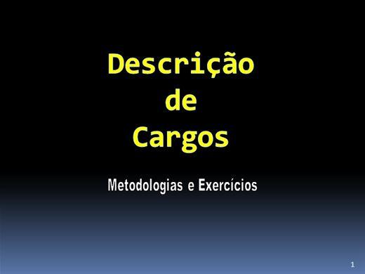 Curso Online de DESCRIÇÃO DE CARGOS