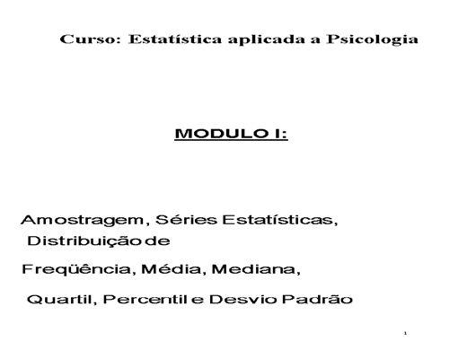 Curso Online de Estatística Aplicada a Psicologia