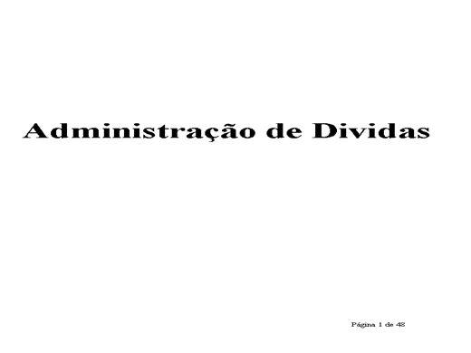Curso Online de Curso de administração de dividas