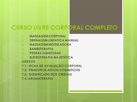 Curso Online de CURSO LIVRE CORPORAL COMPLETO