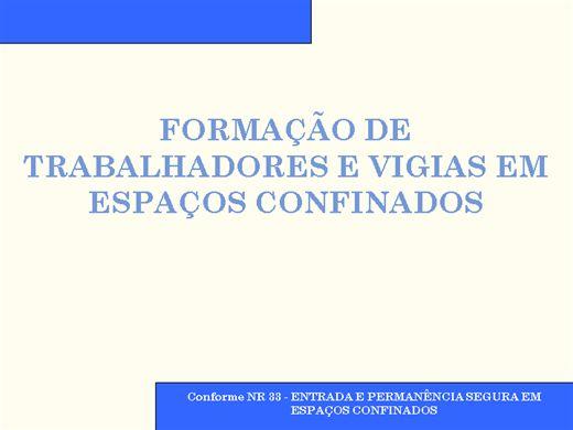 Curso Online de FORMAÇÃO DE TRABALHADORES E VIGIAS EM ESPAÇOS CONFINADOS