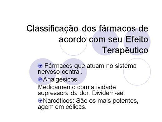 Curso Online de Classificação de Fármacos de acordo com seu efeito terapêutico