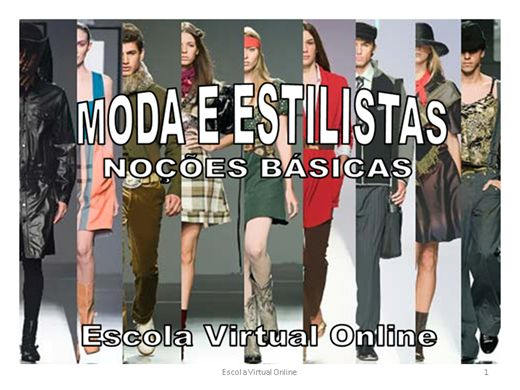 Curso Online de MODA E ESTILISTAS - NOÇÕES BÁSICAS