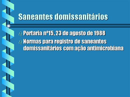 Curso Online de SANITIZANTES DOMISSANITÁRIOS PORTARIA 15