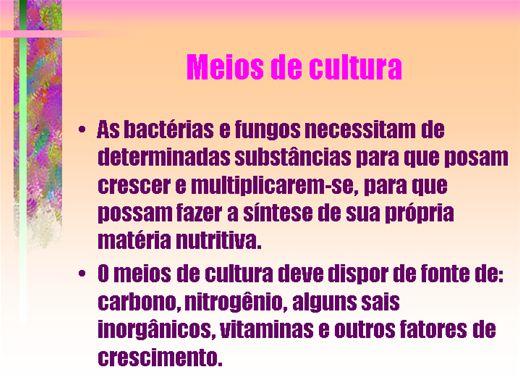 Curso Online de MICROBIOLOGIA - MEIOS DE CULTURA