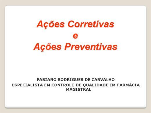 Curso Online de AÇÕES CORRETIVAS E PREVENTIVAS