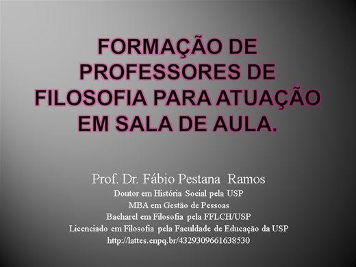 Curso Online de Formação de professores de filosofia para atuação em sala de aula.