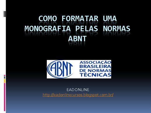 Curso Online de Como Formatar uma Monografia pelas Normas ABNT