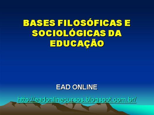 Curso Online de BASES FILOSÓFICAS E SOCIOLÓGICAS DA EDUCAÇÃO