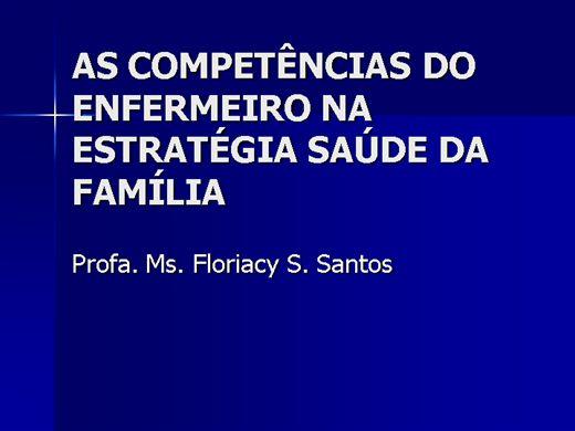 Curso Online de As Competências do Enfermeiro na Estratégia Saúde da Família