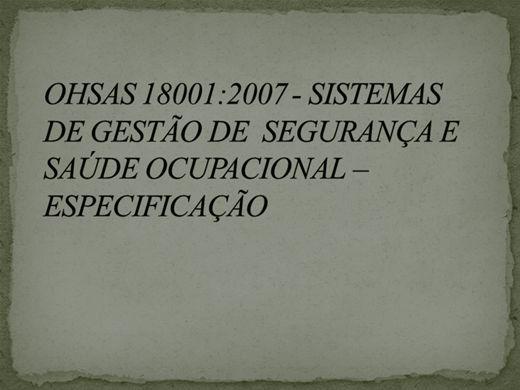 Curso Online de OHSAS 18001:2007 - Sistemas de Gestão de Segurança e Saúde Ocupacional