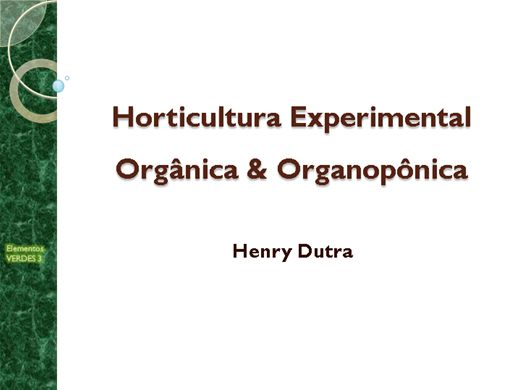 Curso Online de Horticultura orgânica & organopônica