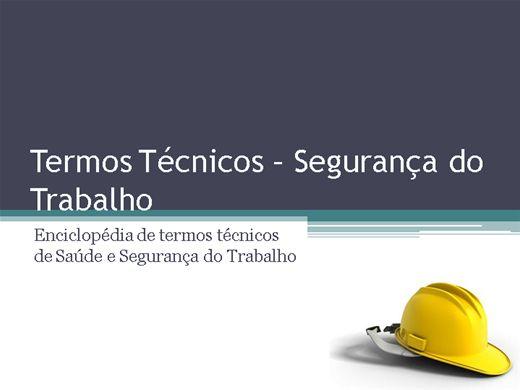 Curso Online de Segurança do Trabalho - Termos Técnicos