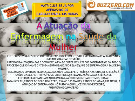 Curso Online de A Atuação da  Enfermagem na Saúde da Mulher