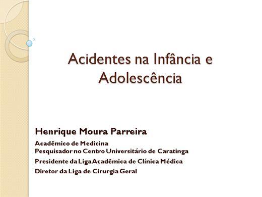 Curso Online de Medicina - Condutas em acidentes na infância e adolescência