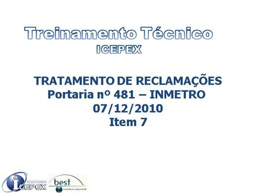 Curso Online de ICEPEX - TRATAMENTO DE RECLAMAÇÕES - ARTIGO ESCOLAR