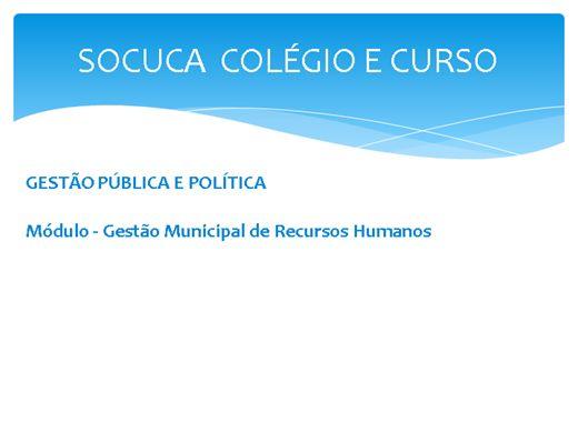 Curso Online de GESTÃO MUNICIPAL DE RECURSOS HUMANOS - Departamento de Pessoal, Cargos, Carreiras e Remuneração